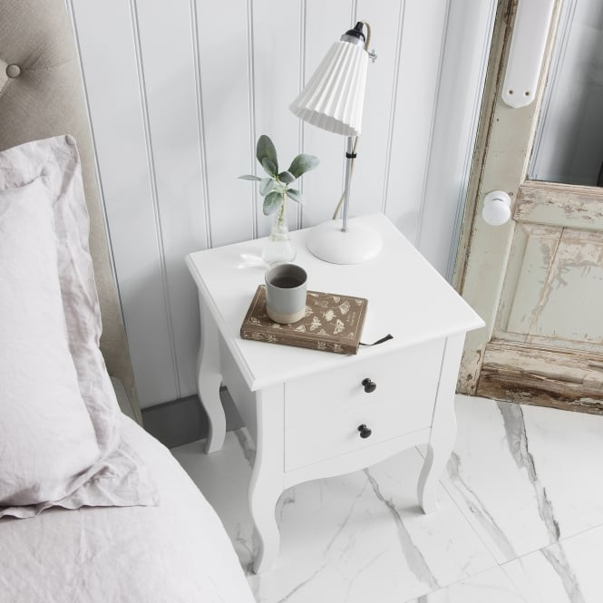 Noa and Nani Camille 2 Drawer Side Table Chest in White