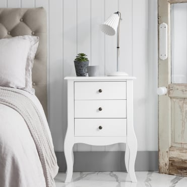 Camille 3 Drawer Side Table Chest in White