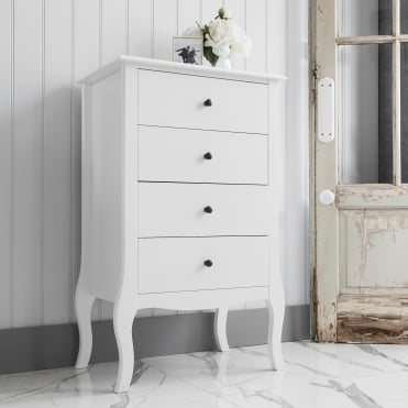 Camille 4 Drawer Bedside Chest in White