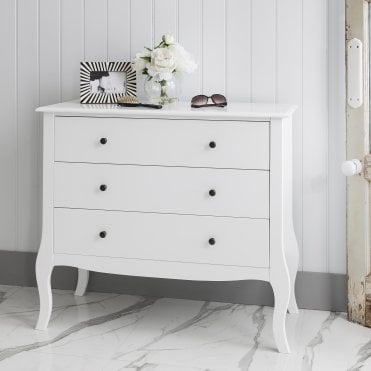 Camille Chest of Drawers in White 3 Drawer