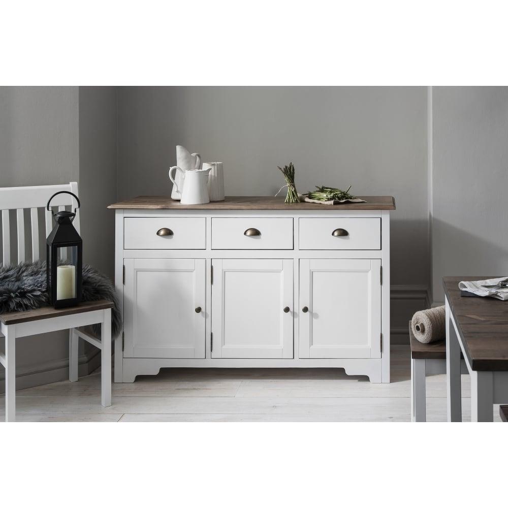 canterbury  drawer sideboard in white  dark pine  noa  nani - canterbury  drawer sideboard cabinet with solid doors in white and darkpine