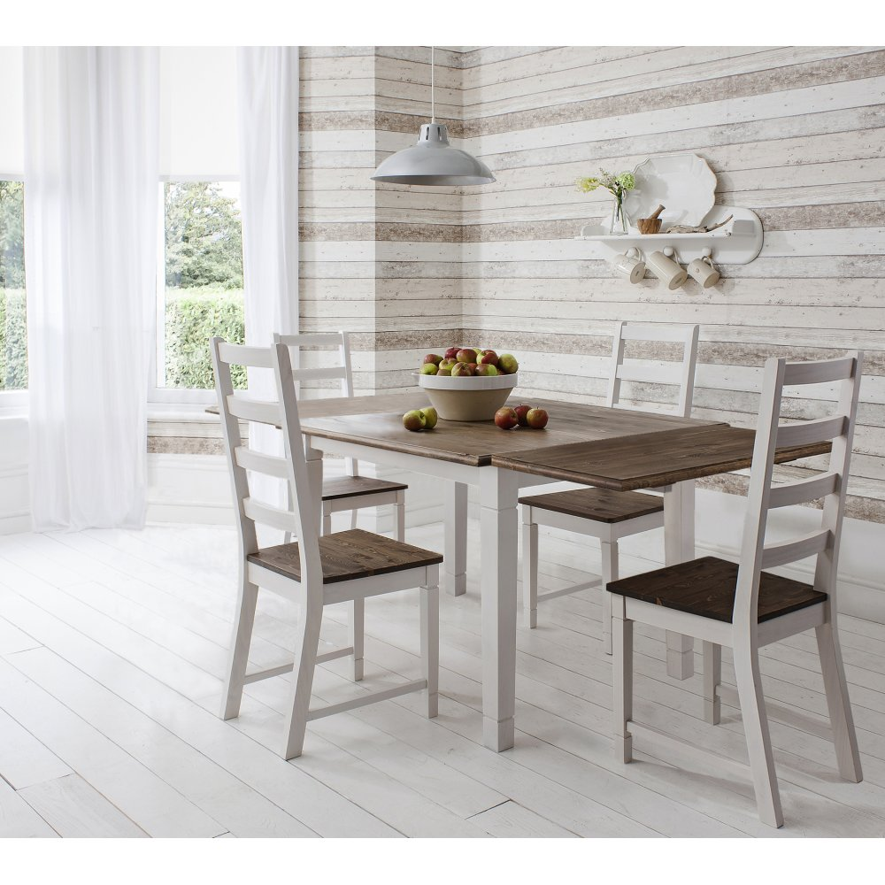 Dining Table And Chairs Canterbury White And Dark Pine: Dining Table Canterbury White And Dark Pine