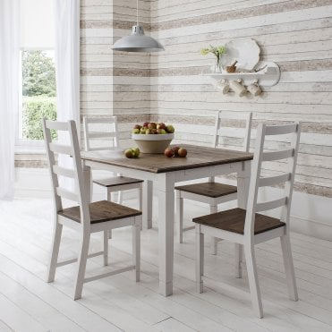 Canterbury Dining Table With 4 Chairs 85cm X 85cm In Dark Pine & White