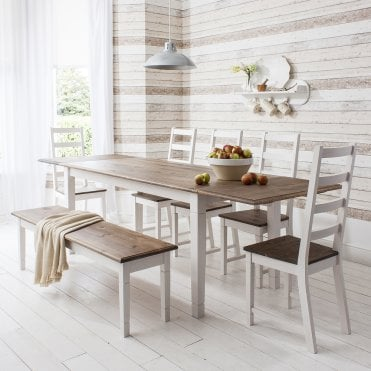 Noa and Nani Canterbury Dining Table with 4 Chairs & Bench & 2 x Extensions