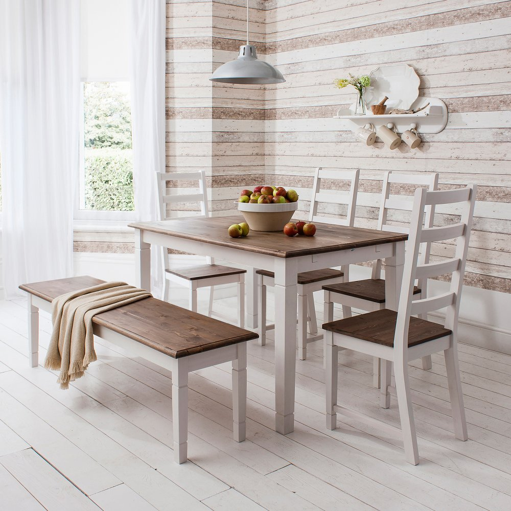 Dining table and chairs canterbury white and dark pine for Dining room table and bench