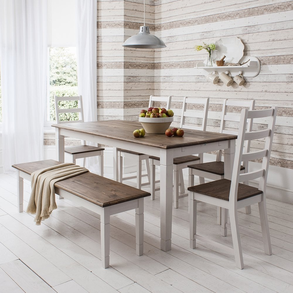 Kitchen Tables Benches: Dining Table And Chairs Canterbury White And Dark Pine