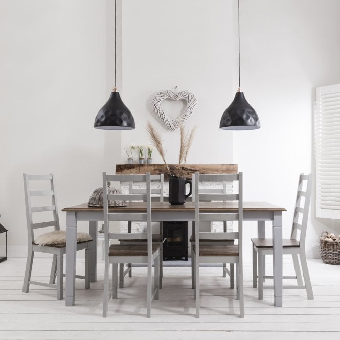 Noa and Nani Canterbury Dining Table with 6 Chairs in Silk Grey and Dark Pine
