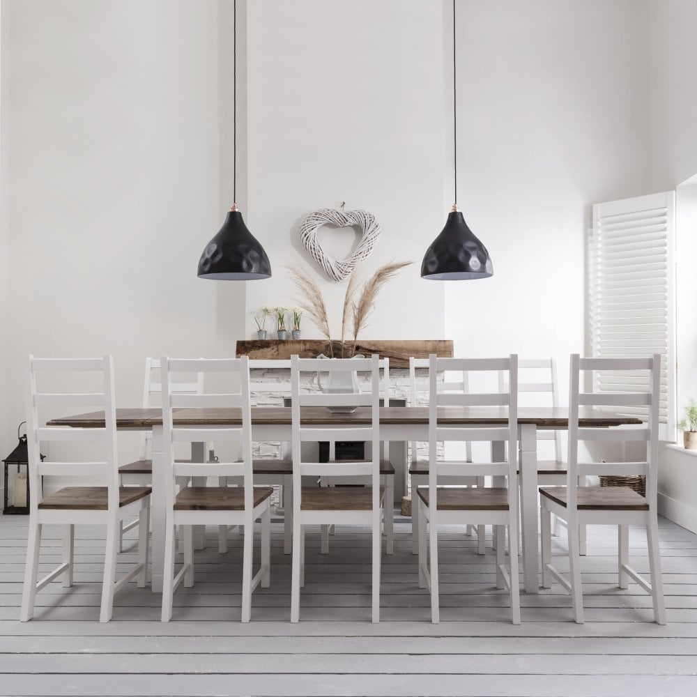 Dining Table And Chairs For 8: Dining Table And Chairs Canterbury White And Dark Pine