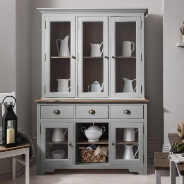 Noa and Nani Canterbury Dresser and Sideboard with Glass Doors in Silk Grey and Dark Pine
