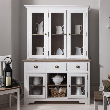Noa and Nani Canterbury Dresser and Sideboard with Glass Doors in White and Dark Pine