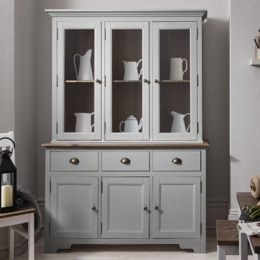 Noa and Nani Canterbury Dresser and Sideboard with Solid Doors in Silk Grey and Dark Pine