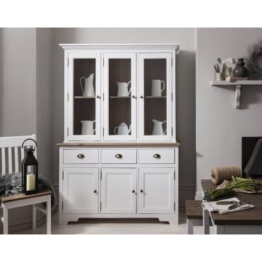 Canterbury Dresser and Sideboard with Solid Doors in White and Dark Pine