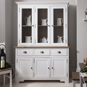 Noa and Nani Canterbury Dresser and Sideboard with Solid Doors in White and Dark Pine