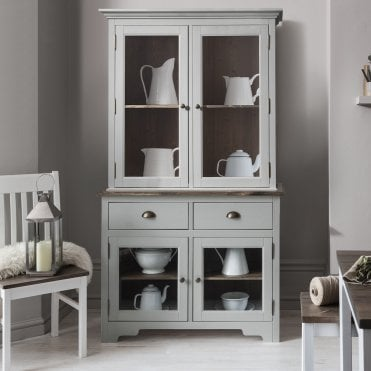 Noa and Nani Canterbury Dresser Cabinet with 2 Drawer Glass Doors in Silk Grey and Dark Pine