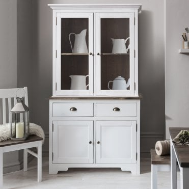 Noa and Nani Canterbury Dresser Cabinet with 2 Drawer Glass Doors in White and Dark Pine