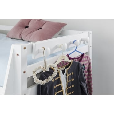 Coat hook Peg Rail in White for Bunk Beds and Cabin beds Kids bed