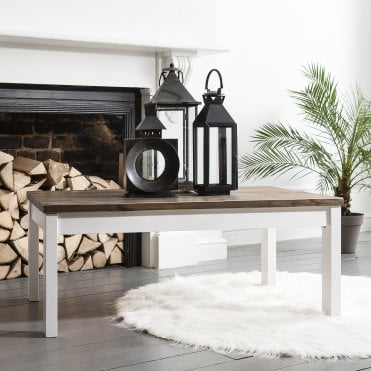 Noa and Nani Coffee Table Canterbury Large in White and Dark Pine