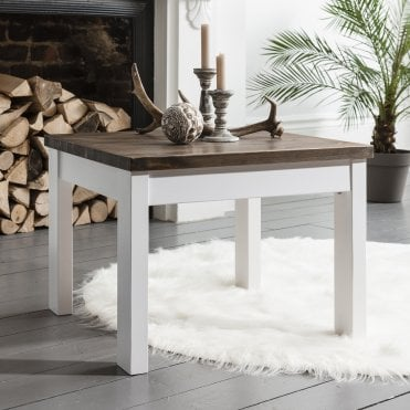 Coffee Table Canterbury Square in White and Dark Pine
