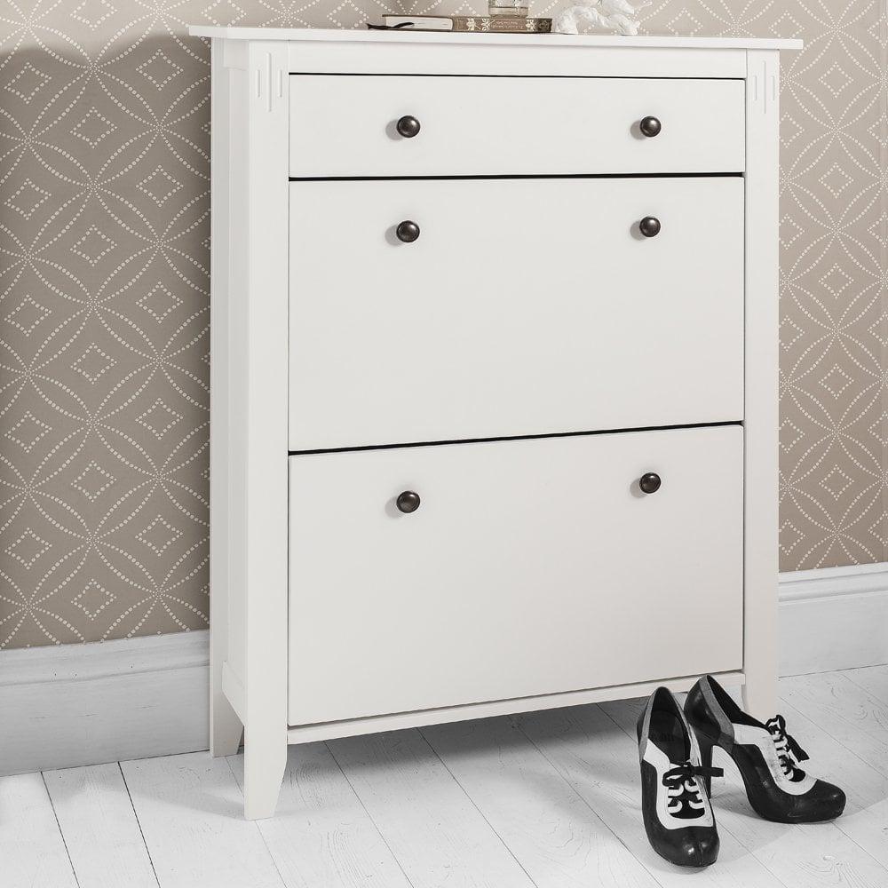 Slim Shoe Cabinet Cotswold Shoe Storage Unit In White Noa Nani