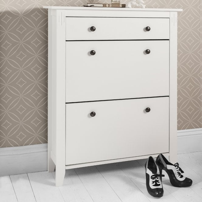 Noa and Nani Cotswold Shoe Storage Unit in White Shoe Cabinet