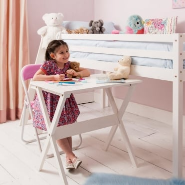 Desk for Cabin Bed in White Contemporary Design for Midsleeper