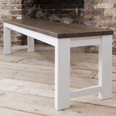 Hever Bench in White and Dark Pine