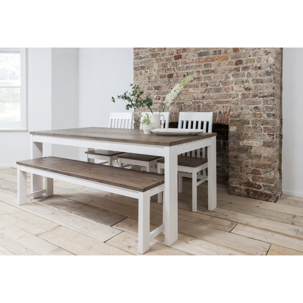 Hever Dining Table With 3 Chairs Amp Bench