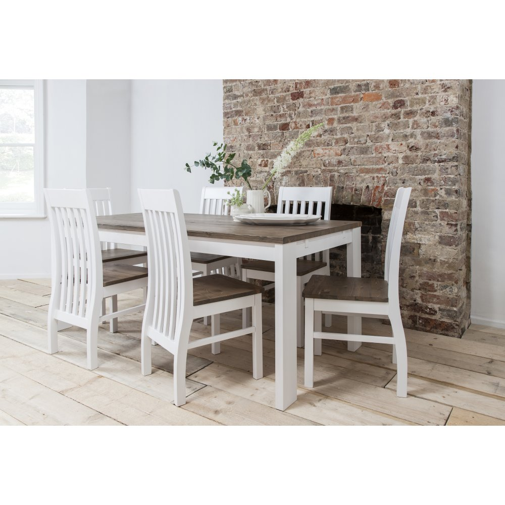 Hever dining table with 6 chairs in white and dark pine for White dining table and 6 chairs