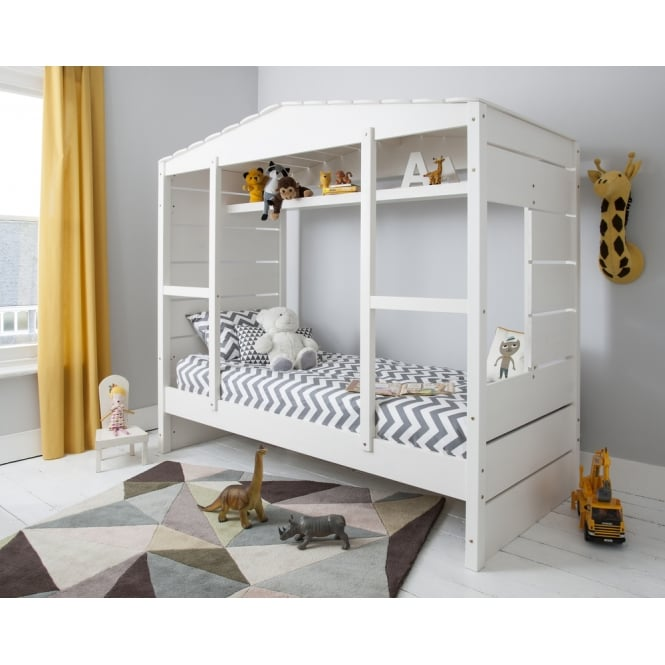 Noa and Nani Ingrid Hus Single Contemporary Bed with Shelving