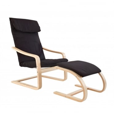 Lounge Chair with Footstool in Black