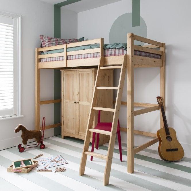 Natural Pine High Sleeper Cabin Bed With Desk Noa Amp Nani
