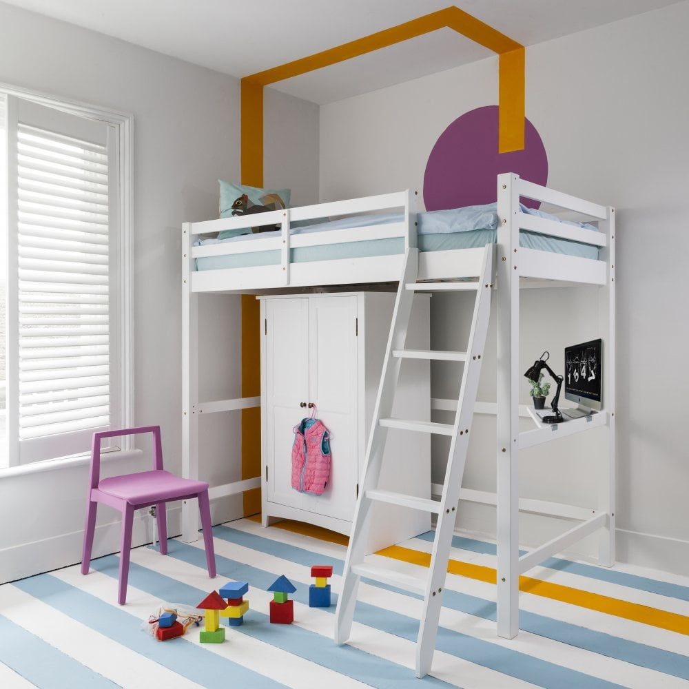 White High Sleeper Cabin Bed with Desk | Noa & Nani