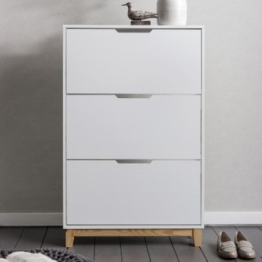 Oslo Shoe Storage Unit in White and Natural Shoe Cabinet