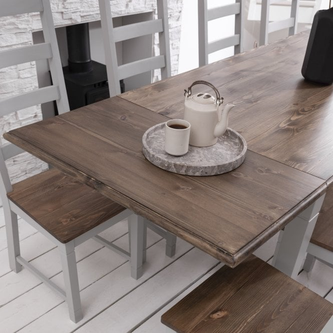 Noa and Nani Pair of Extensions for Canterbury Dining Table Dark Pine and Silk Grey