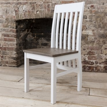 Pair of Hever Dining Chairs in White and Dark Pine