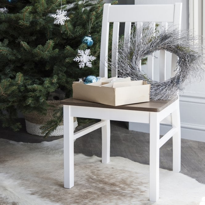 Noa and Nani Pair of Nordic Dining Chairs in White and Dark Pine