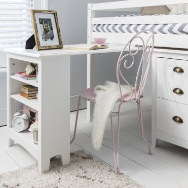 Pullout Desk with Built-in Bookshelf in White