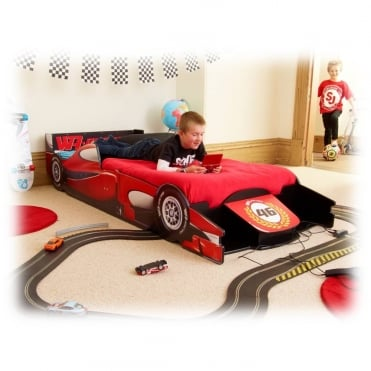 Racing Car Bed in Red Single