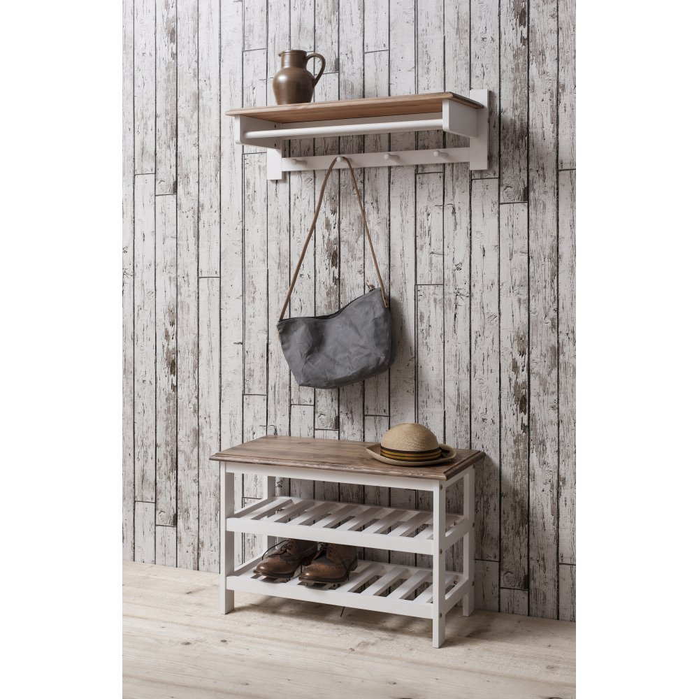 Shoe Storage Unit With Coat Rack In White Dark Pine