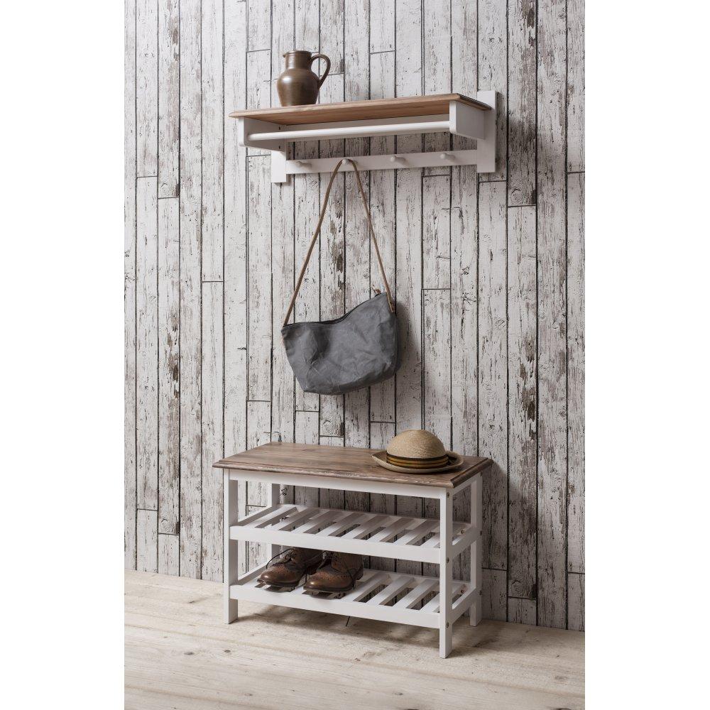 Shoe Storage Unit With Coat Rack In White Amp Dark Pine