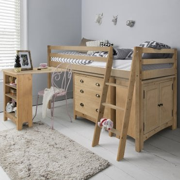 Sleep Station in Natural with Chest of Drawers, Cabinet & Desk