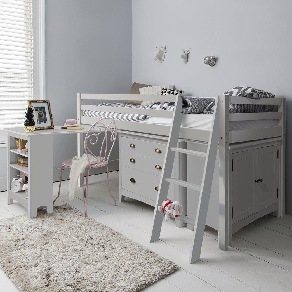 Silk Grey Sleep Station With Cabinet Drawers amp Desk Noa