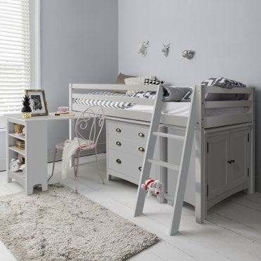 Sleep Station in Silk Grey with Chest of Drawers, Cabinet & Desk