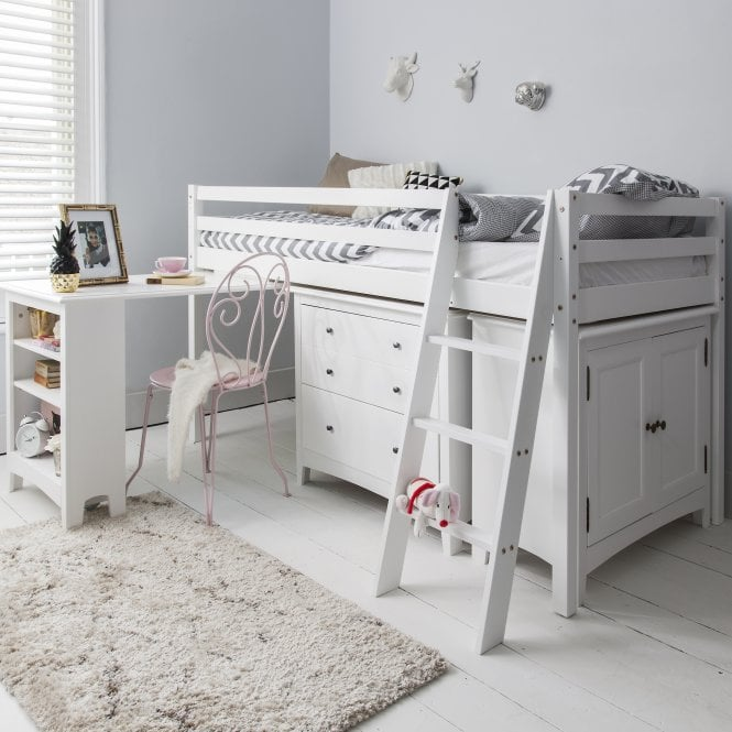 Noa and Nani Sleep Station in White with Chest of Drawers, Cabinet & Desk