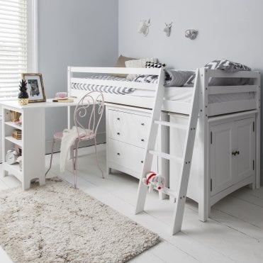 Sleep Station in White with Chest of Drawers, Cabinet & Desk