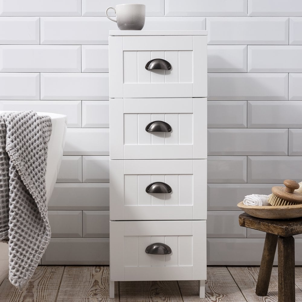 Stow Bathroom Cabinet 4 Drawer Storage Unit In White