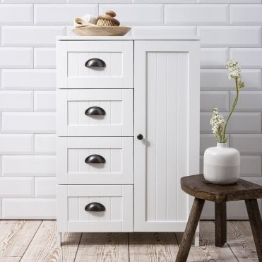 Stow Bathroom Cabinet Storage Cupboard in White