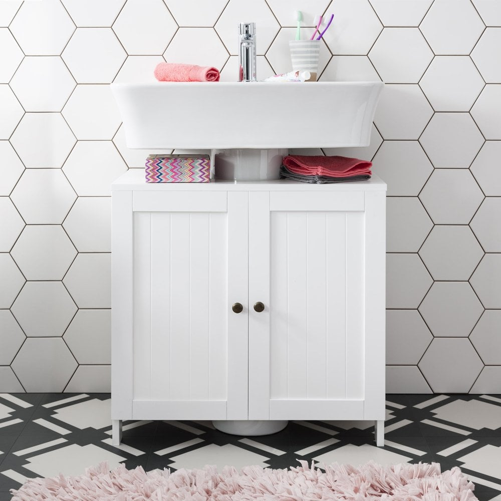 Stow bathroom sink cabinet undersink in white noa nani - Under sink bathroom storage cabinet ...