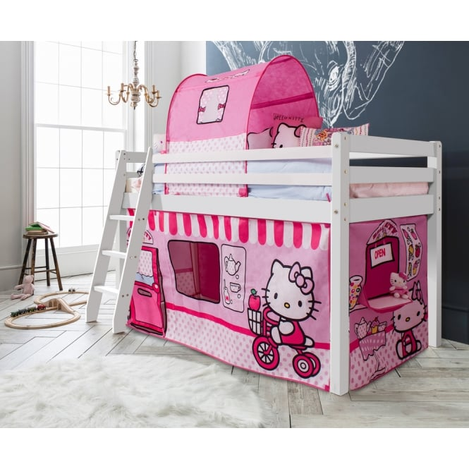 Noa and Nani Thor Midsleeper Cabin Bed with Hello Kitty Tent