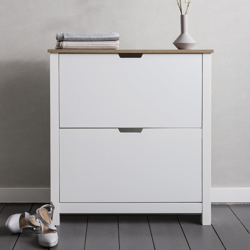 Tromso Shoe Storage Unit In White And Natural Noa Nani